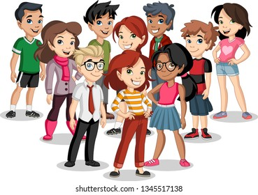 Group of cartoon young children. Teenagers.