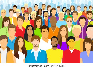 Group of Casual People Face Big Crowd Diverse Ethnic Vector illustration