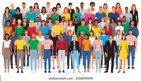 Group of casual people standing on a white background, Big crowd diverse ethnic, Vector illustration