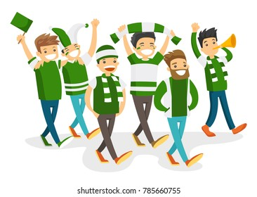 4463e5ef78 Group of caucasian white happy sport fans in green outfit cheering for  their team. Football