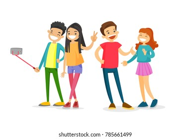 Group of Caucasian white teenage friends taking a selfie photo with a smartphone. Young people having fun and making selfie. Friendship and technology concept. Vector isolated cartoon illustration.