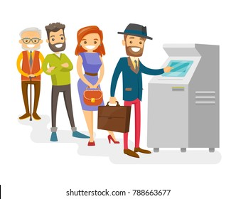 Group of Caucasian white young and senior people standing in a queue to the ATM. Happy people queuing to withdraw cash at ATM. Vector cartoon illustration isolated on white background.