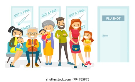 Group of Caucasian white young and senior people waiting in a queue in the hospital to get a free flu shot. Patients waiting for a doctor in the hospital lobby. Vector isolated cartoon illustration