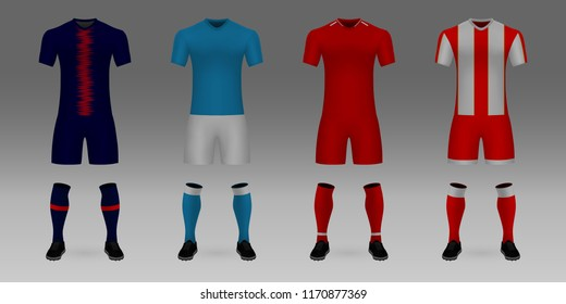 Group С of Champions League. Set of 3D realistic template soccer jersey PSG, Napoli, Liverpool, Red Star t-shirt with pants and socks on shop backdrop. Mockup of football team uniform