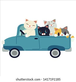The group of character cute cat driving a blue car. The cat driving a blue car on the white background. cat smiling and   they look have happyness. cute cat in flat vector style.