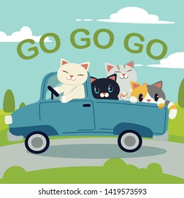 The group of character cute cat driving a blue car for go to the trip.The cat driving a blue car on the road. cat smiling and   they look have happyness. cute cat in flat vector style.