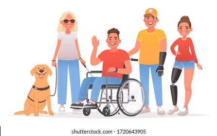 Group of characters with disabilities. People and disability. Blind woman with a guide dog, a guy in a wheelchair, a man and girl with prostheses. Vector illustration in cartoon style