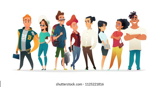 Group of charismatic smiling young people standing together. Students, schoolchildren, young professionals collection. Cartoon Characters design for your projects