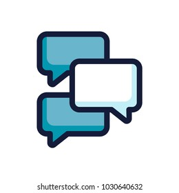 Group chat boxes, dialog color line icon. Vector illustration.