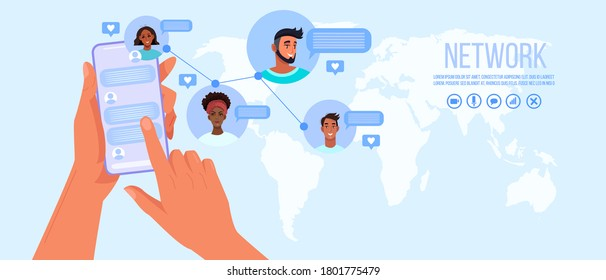 Group chat or online conference banner with map of the world, human hands holding smartphone,avatars. Internet teamwork and virtual meeting concept. Group chat illustration with diverse peoples' faces