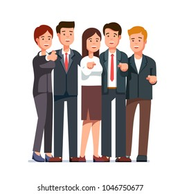 Group of cheerful  business man & woman pointing index fingers at viewer. Smiling cheering business people team gesturing at you with approval. Flat character vector illustration isolated on white