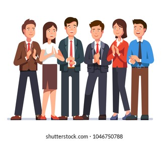 Group of cheerful business man & woman clapping hands at viewer. Smiling cheering business people team applauding with approval. Flat character vector illustration isolated on white