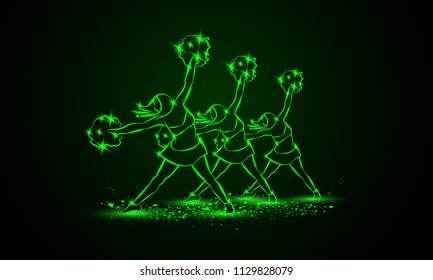 Group of cheerleaders dances with pom poms. Green neon cheerleading background for sporting poster event.