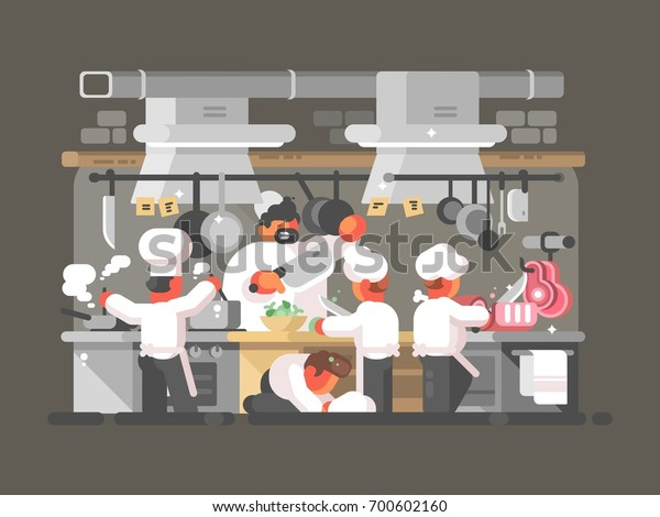 Group Chefs Cooks Kitchen Restaurant Vector Stock Vector Royalty Free 700602160