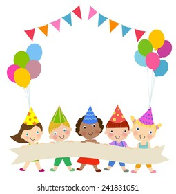 Group of children and birthday party