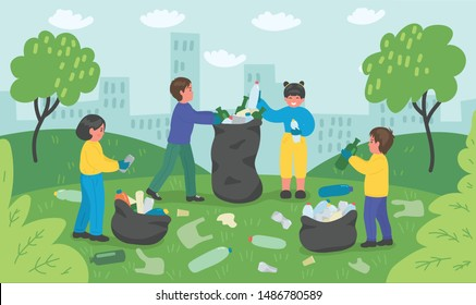 Group of children cleaning up city park. Ecology, environment copncept. Vector illustration.
