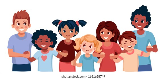 group of children of different ages, nations, skin colors hold hands and smile