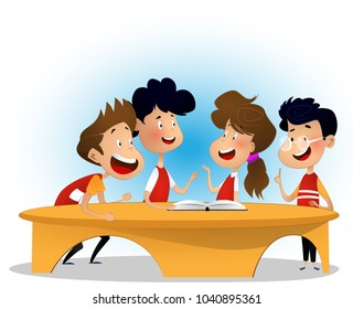 Group of children are discussing book in library. Concept of inclusive activity. Cartoon vector illustration for banner.