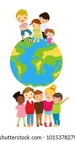 Group of children and globe