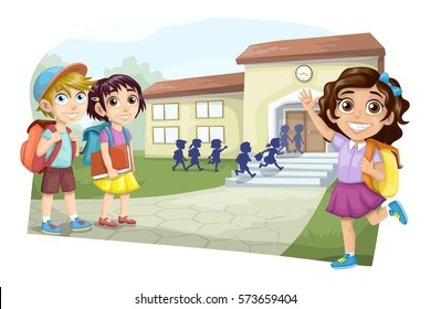 Group of children going to school
