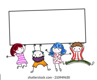 Group of children holding banner