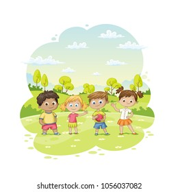 Group of children ist standing in a meadow