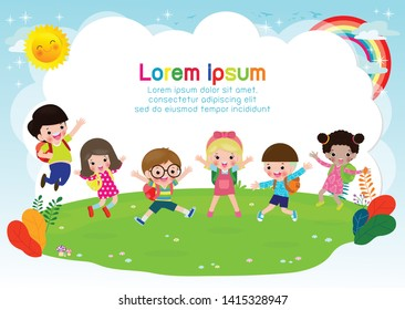Group of children jumping, back to school, kids school, education concept, Kids go to school, Template for advertising brochure, your text,Kids and frame,child and frame,Vector Illustration