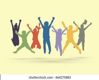 Group of children jumping , Front view graphic vector.