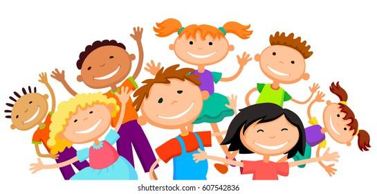 group of children kids are jumping joyful white background bunner cartoon funny vector character vector illustration