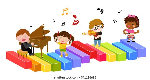 Group of children and music