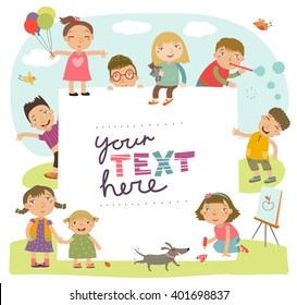 Group of children playing.  Childish holiday card in vector.
