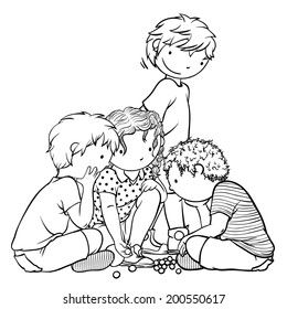 Group of Children Playing Marbles -  Illustration for Coloring Book Design, Vector Outline Cartoon, Traditional Childhood Games