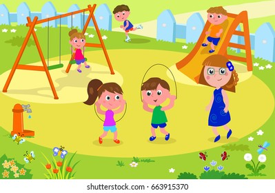 Group of children playing in a playground with a teacher or mother looking at them, vector illustration