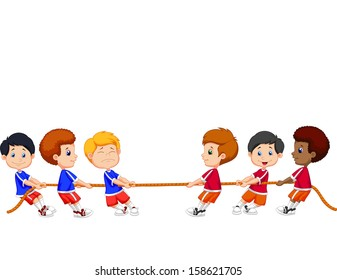 Group of children playing Tug Of War