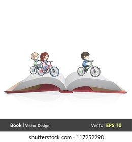 Group of children riding a bicycle inside a open Pop-up book. Vector design.
