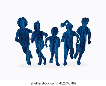 Group of children running, Front view designed using blue grunge brush graphic vector.