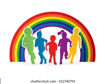 Group of children running , Front view designed on line rainbows background graphic vector.
