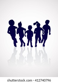 Group of children running , Front view graphic vector.