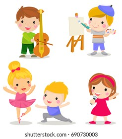 Group of children set:play the violin, drawing,dancing,singing