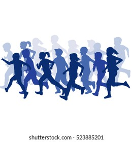 Group of children silhouettes running