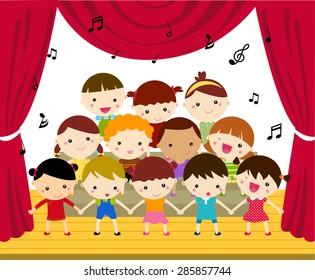 Group of children singing