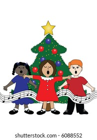 Group of children singing around a Christmas tree