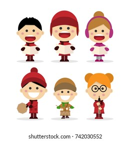 Group of children singing Christmas carols on white background