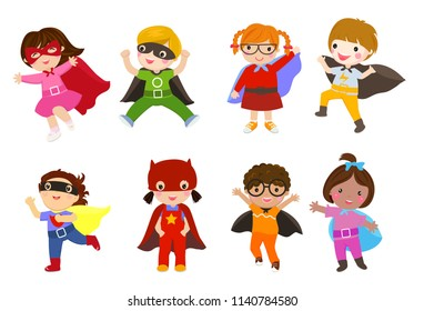 Group of children superhero