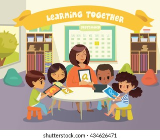 Group of Children and Tutor with tablets in a classroom. School lesson illustration. Education using the devices. Preschool lesson. Contemporary education using the devices. Vector. Isolated.