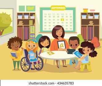 Group of Children and Tutor with tablets in a classroom. School lesson illustration. Education using the devices. Caring for the disabled child. Handicapped Kid. Vector. Isolated.