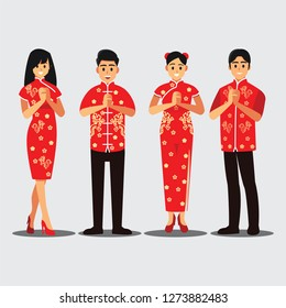 Group of Chinese people greeting, Chinese new year concept,Vector illustration cartoon character.