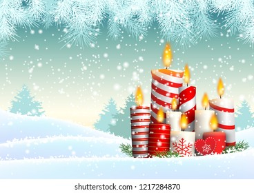 Group of Christmas candles in snowy landscape, vector illustration, eps 10 with transparency