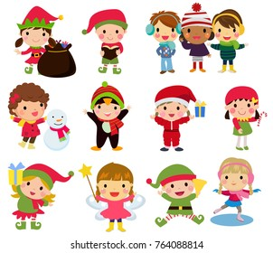 Group of Christmas children collection