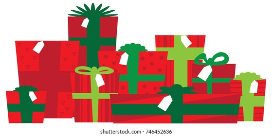 Wrapped christmas gifts clip art